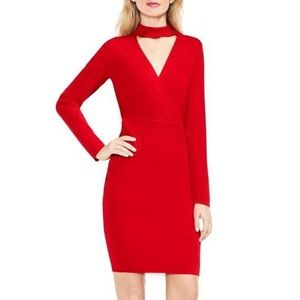 Vince Camuto Red Choker Faux Wrap Sweater Dress